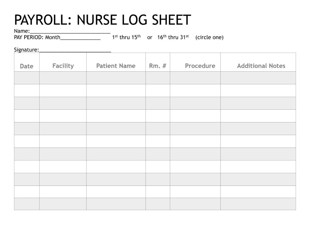 PAYROLL NURSE LOG SHEET 1